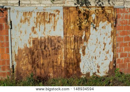 Garage building with rusty doors. Greens and shadow around him.