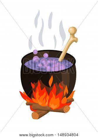 isolated witch cauldron halloween stylized cartoon vector illustration