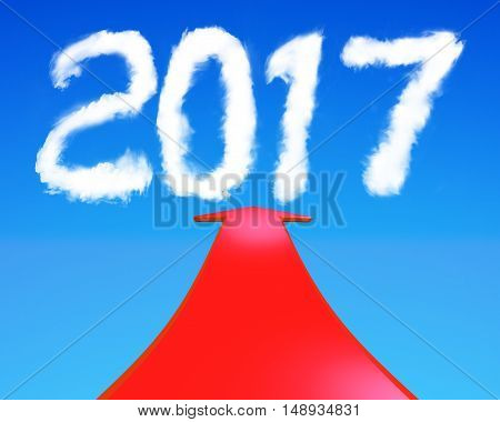 2017 year shape clouds with red arrow going upward in blue sky 3D rendering.