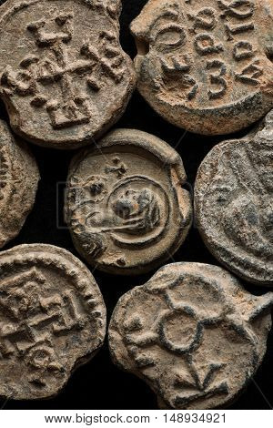 Antique Post Seals With Greek Letters And Saint Images