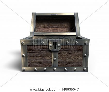 Old treasure chest open front view isolated on white background 3D rendering.