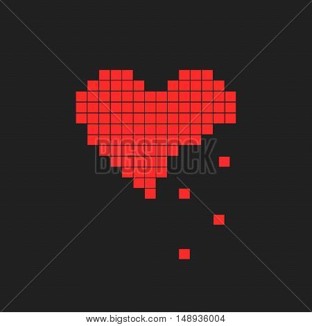 Illustration Of Heart Symbol In Pixel Art Style