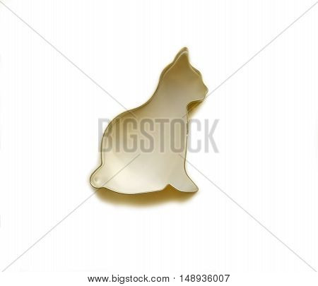 Cat wireframe shape silhouette isolated on white background