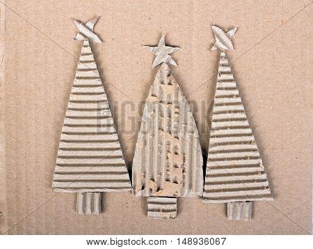 Christmas background with tree cardboard christmas tree