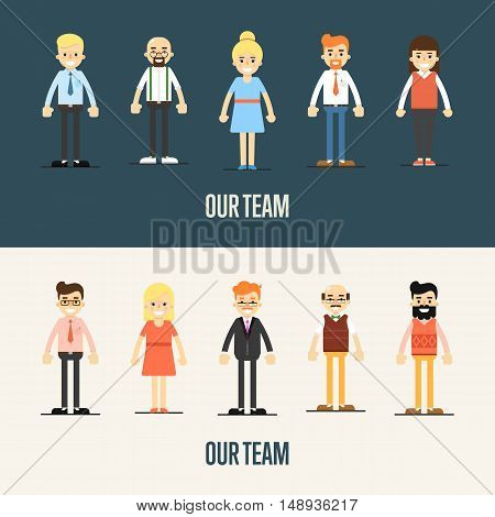 Group of smiling cartoon people standing on white and gray background. Our team banner, vector illustration. Teamwork and business team concept. Human resource management. Business success