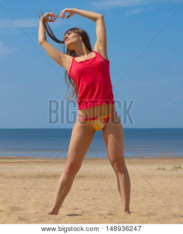 Beach Woman Exercising