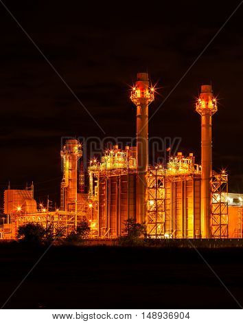 Pictures of beautiful power plants during the night.