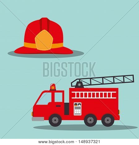 fire truck emergency vehicle rescue service and firefighter helmet. vector illustration