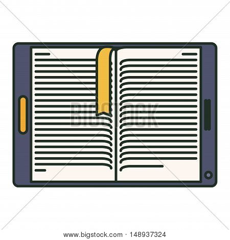 Ebook and tablet icon. elearning reading and technology theme. Isolated design. Vector illustration