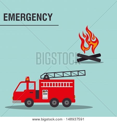 fire truck emergency vehicle rescue service. colorful design. vector illustration