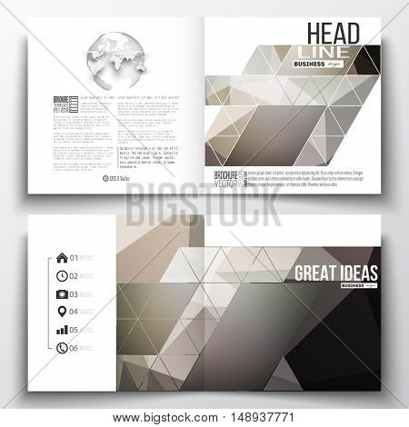Set of annual report business templates for brochure, magazine, flyer or booklet. Abstract blurred background, modern stylish dark vector texture.