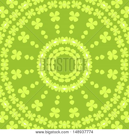 Abstract geometric seamless background. Regular concentric circles pattern with elements in lemon lime green and white on apple green.