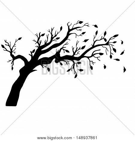 Very high quality original trendy  vector illustration of an old branch with leaves