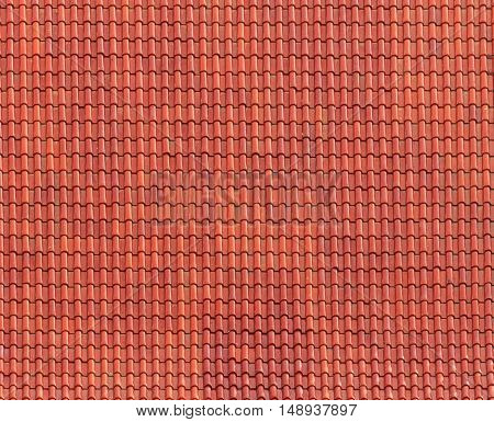 The Red tiles roof architecture background beautiful.
