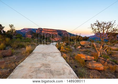 Concrete Footpath Leading To Blyde River Canyon Viewpoint, Famous Travel Destination In South Africa