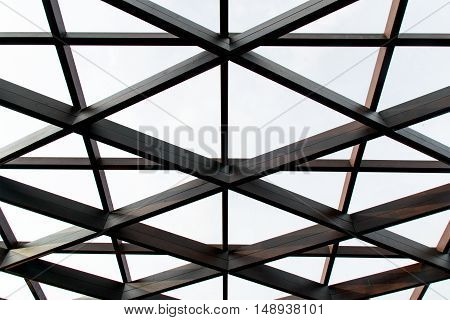 Structural Steel Cross Construction And Glass Roof