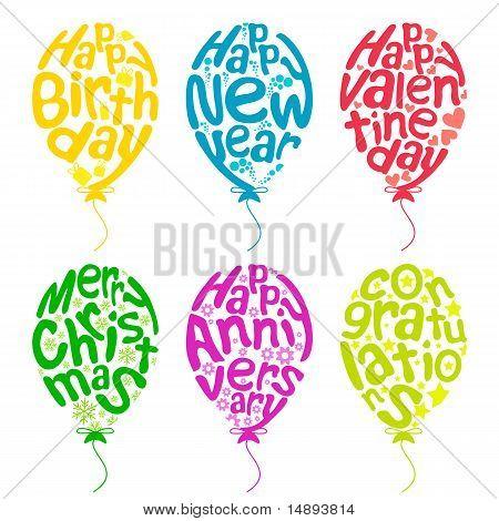 Reihe von Ballons für verschiedene Anlässe