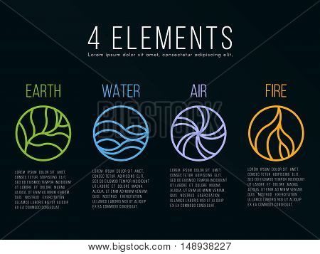 Nature 4 elements in circle icon abstract line border sign. Water Fire Earth Air. on dark background.