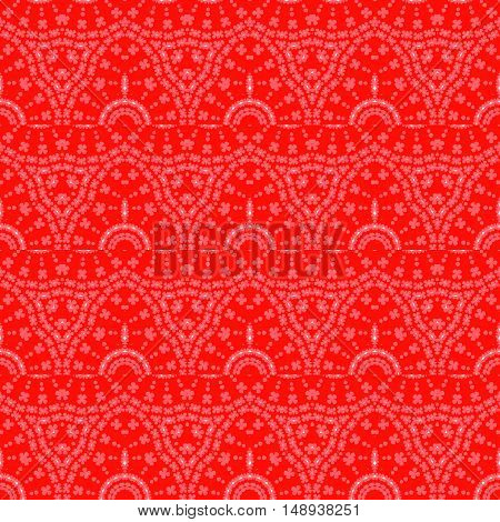 Abstract geometric seamless background. Regular floral pattern with semicircular elements in pink and white on red, ornate and extensive.