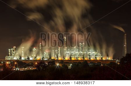 The Steam power plants at night industrial area