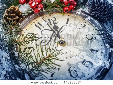 Christmas Still Life. Old Clock On Snow.