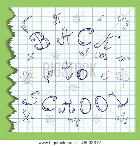 Back to School. Hand Drawn Letters Mathematics Symbols and Maple Leaves.Scribbles on the Rippled Sheet of Copybook in a Cage. Doodle Style. Vector illustration.