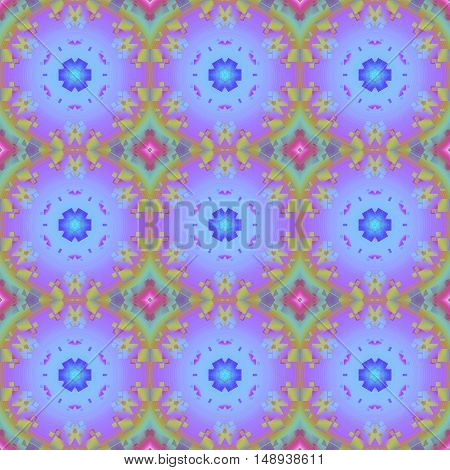 Abstract geometric seamless background multicolored. Regular ornaments with star pattern in violet and purple shades and diamond pattern in mint green and violet.
