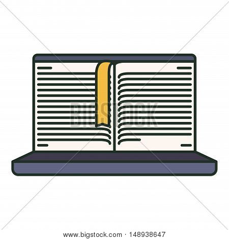 Ebook and laptop icon. elearning reading and technology theme. Isolated design. Vector illustration