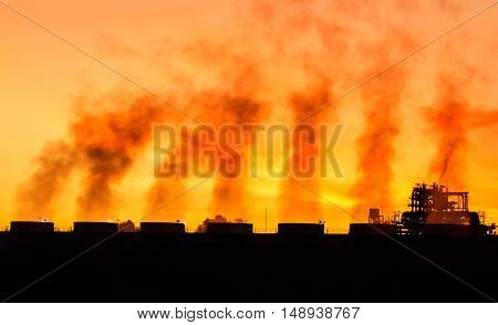 Twilight images of steam power plant in beautiful morning.