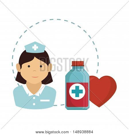 avatar woman nurse medical assitance with  red heart and medicine bottle icon. colorful design. vector illustration
