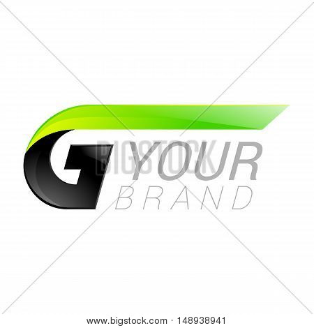 G letter black and green logo design Fast speed design template elements for application.