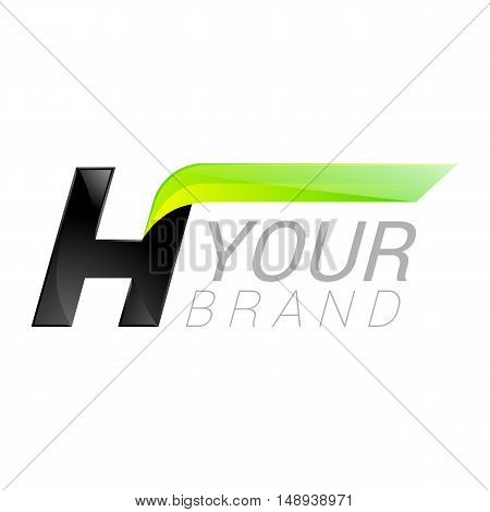 H letter black and green logo design Fast speed design template elements for application.