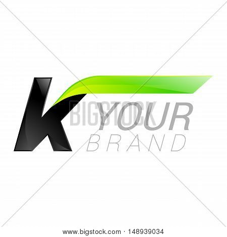 K letter black and green logo design Fast speed design template elements for application.