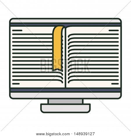 Ebook and computer icon. elearning reading and technology theme. Isolated design. Vector illustration
