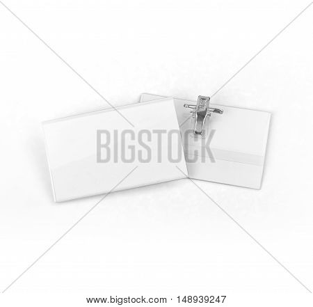 Name tag or identification holder with metal clip on white background