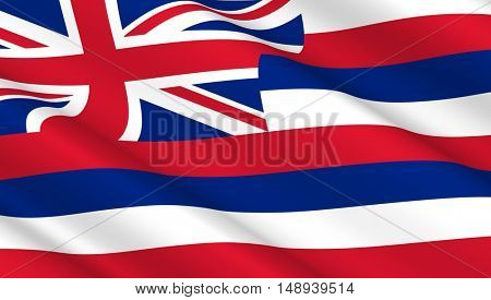 Waving flag of Hawaii state. 3D illustration.