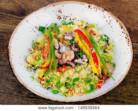 Couscous With Vegetables And Seafood