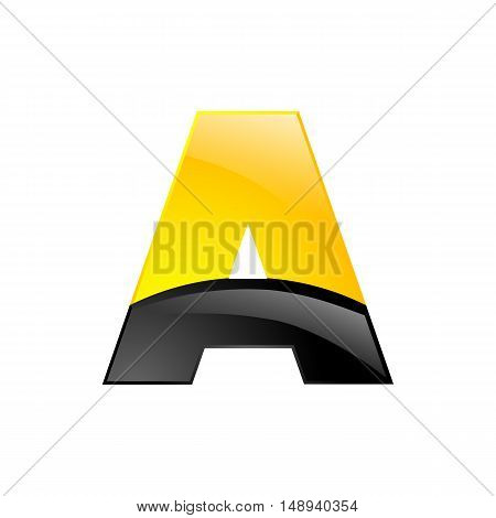 Creative yellow and black symbol letter A for your application or company design alphabet Graphics 3d letter.