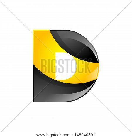 Creative yellow and black symbol letter D for your application or company design alphabet Graphics 3d letter.