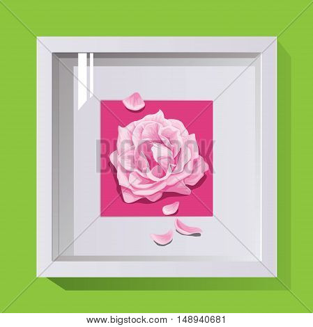 volumetric frame with glass for decoration of photos and paintings on a bright background roses in flower