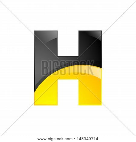 Creative yellow and black symbol letter H for your application or company design alphabet Graphics 3d letter.