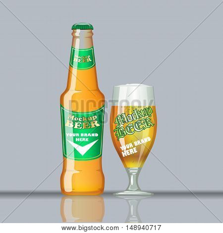 Digital vector glass of beer mockup, green and orange bottle, realistic flat style, isolated and ready for your design and logo