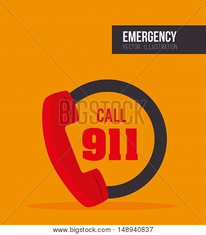Call 911 fire equipment service emergency. vector illustration