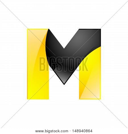 Creative yellow and black symbol letter M for your application or company design alphabet Graphics 3d letter.