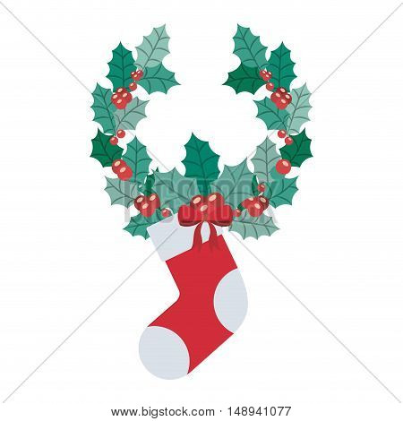 Boot and crown icon. Merry Christmas season and decoration theme. Isolated design. Vector illustration
