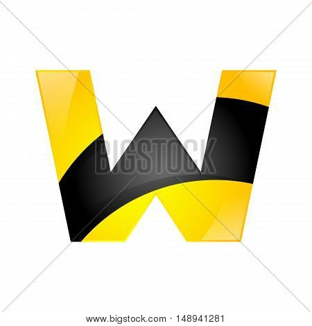 Creative yellow and black symbol letter W for your application or company design alphabet Graphics 3d letter.