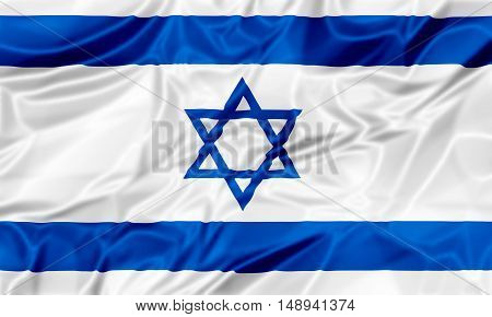 The national Israel waving flag in 3d illustration background.