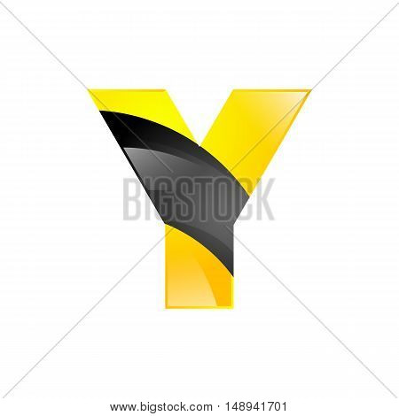 Creative yellow and black symbol letter Y for your application or company design alphabet Graphics 3d letter.