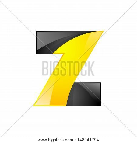 Creative yellow and black symbol letter Z for your application or company design alphabet Graphics 3d letter.