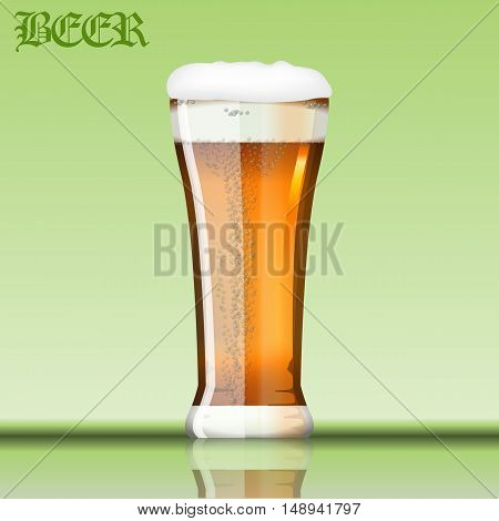 Digital vector glass of brown beer with bubbles and foam mockup, realistic flat style, isolated and ready for your design and logo